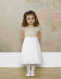 Cute Sparkling Flower Girl Dresses Gold Sequined Bow Cheap Baby ...