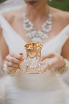 High Society Tea, stunning gilded glass cup and saucer♡