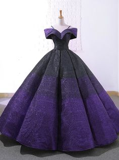 Purple And Black Ball Gown Sequins Off The Shuolder Wedding Dress – kemedress Cute Prom Dresses, Pretty Dresses, Beautiful Dresses, Sparkly Dresses, 15 Dresses, Wedding Dresses, Ball Gowns Prom, Ball Gown Dresses, Pageant Dresses