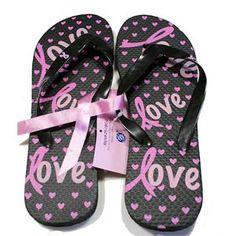 ad27c736f1aa02 Pink Ribbon Flip Flops - Black