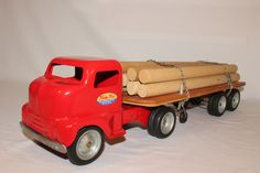 Tonka, 1952 Cab-over Semi Truck with Flatbed Logging Trailer, Restored/Custom