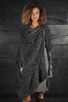 Alessandra Marchi – Leather Sleeves Cardigan