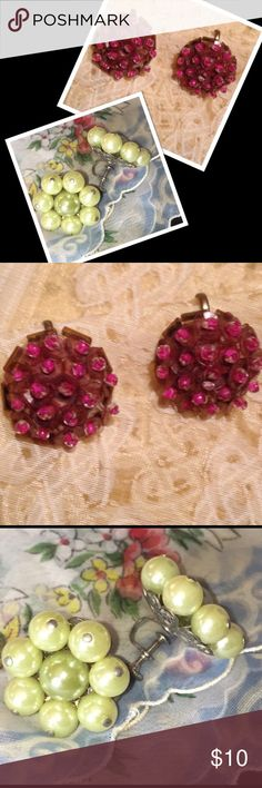2 pair vintage 50s screw back earrings 50s maybe earlier pink button stew back earrings covered in sequins with small pink need centers. The back look to be brass which in very unusual. Second pair are also Screw back with simulated green pearls in a flower design, lovely vintage earrings. Vintage Jewelry Earrings