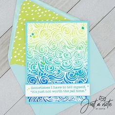 This card uses the Mermaid Lagoon Stencil from Brutus Monroe, a sentiment from the Sweet Sentiment January 2020 class kit, Catherine Pooler Inks, Gina K Cardstock and Nuvo Drops.