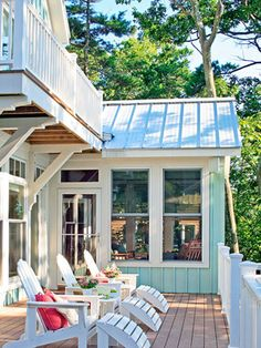 The best-designed outdoor spaces serve as extensions of our home, family, and lifestyle. We want our outdoor spaces to truly work as outdoor rooms that are both functional and beautiful! Beach Cottage Style, Lake Cottage, Coastal Cottage, Coastal Homes, Coastal Living, Cottage Porch, Coastal Style, House Porch, Coastal Decor
