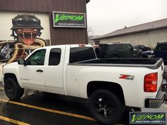 2008 Silverado with Superlift leveling kit, Fuel Beast wheels, and Mickey Thompson tires. Venom Motorsports - Grand Rapids, Michigan. Performance, Accessories, and Styling for cars, trucks, Jeeps, and SUVs. (616) 635-2519 Financing Available