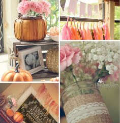 we like the burlap and lace on the mason jars and the carnations with babies breaths
