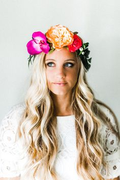 Bright + Colorful Tropical Flower Crown by emilyroseflowercrown on Etsy https://www.etsy.com/listing/291226401/bright-colorful-tropical-flower-crown