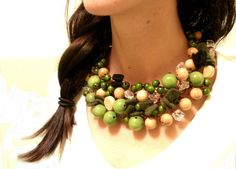 Interesting use of green felt bows in this necklace--Brown Green Nature Copper Wire by minimalMODE, $39.00