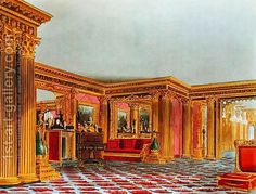 Charles Wild:The Golden Drawing Room, Carlton House, from The History of the Royal Residences, engraved by Thomas Sutherland (b.1785), by William Henry Pyne (1769-1843), 1819