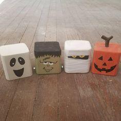Halloween Decoration Reclaimed Wood Frankenstein, Mummy, Jack-o-lantern, Ghost Block Spooky Friends – HALLOWEN Fall Wood Crafts, Halloween Wood Crafts, Wood Block Crafts, Diy Halloween Decorations, Decor Crafts, Holiday Crafts, Wood Projects, Wood Blocks, 4x4 Wood Crafts