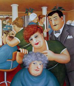 Britain's Biggest Stockist of Beryl Cook Fine Art Beryl Cook, Plus Size Art, Salon Art, English Artists, Portraits, Naive Art, Cute Art, Illustrators, Folk Art
