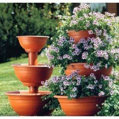 Sana Enterprises Three Tier Plant Stand, Progressively Sized Planters or Flower Pots, Terra-Cotta Flower Planters, Garden Planters, Flower Pots, Spring Garden, Lawn And Garden, Container Plants, Container Gardening, Tiered Planter, Flower Tower