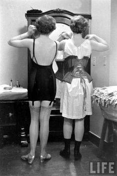 Backstage at a corset show, Feb Alfred Eisenstaedt for LIFE magazine. NC license © Time Inc. Satin Underwear, Vintage Underwear, Vintage Girdle, Nylons, Rita Hayworth, Bustiers, Marcel Rochas, Gatsby Girl, Vintage Outfits