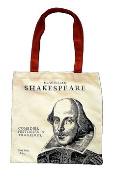 Shakespeare's First Folio Canvas Bag: Canvas tote bag, featuring an image of Shakespeare from the frontispiece of the First Folio. First Folio, Shakespeare Festival, Canvas Tote Bags, Reusable Tote Bags, Canvas Totes