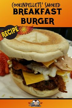 This is the perfect breakfast recipe cooked on the BBQ. This cheeseburger is served on a bagel with bacon and eggs – great breakfast-for-dinner idea. Pellet grilling for the win! Bacon Recipes, Burger Recipes, Grilling Recipes, Brunch Recipes, Snack Recipes, Cooking Recipes, Grilling Tips, Brunch Food, Breakfast Burger