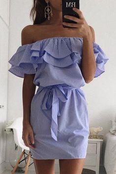 Blue Off Shoulder Stripe Pattern Flouncy Details Dress