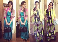 Promotions for Khoobsurat saw Sonam in two different layered maxi looks, one a green Stefanel worn with a printed Pankaj and Nidhi cropped jacket and the other a printed River Island worn with a Warehouse blazer.  While she looked great in both looks, do you like one a wee bit more than the other?