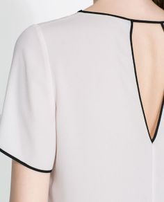 Image 5 of BLOUSE WITH CONTRASTING EDGING from Zara Girls Tunics, Blouses For Women, Pink Wardrobe, Cute Comfy Outfits, Short Tops, Long Tops, Facon, Zara Women, Fashion Details