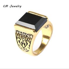 Hot selling New A...  Click To Order  http://jere-miah-jewelry.myshopify.com/products/hot-selling-new-arrival-mens-ring-fashion-gold-plated-violent-finger-ring-with-carved-plexiglas-ancient-gold-ring-jewelry?utm_campaign=social_autopilot&utm_source=pin&utm_medium=pin We Ship Worldwide!