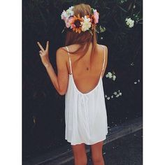 white dress and flower crown