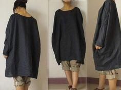 036Black linen Womens Smock Top Tunic Kaftan Shirtdress by EDOA