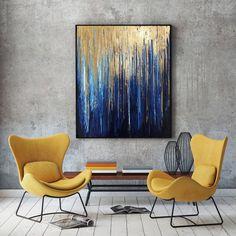 Art bleu marine or feuille dor lart Original abstrait marine Art Feuille D'or, Art Bleu, Gold Leaf Art, Foil Art, Painted Leaves, Blue Art, Texture Art, Contemporary Paintings, Canvas Wall Art