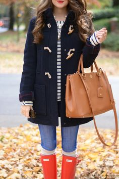 Southern Curls & Pearls great coat with toggles and Tory Burch purse