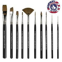 Synthetic Sable Artist Paint Brush Set: Paintbrushes for Watercolor, Oil, Acrylic Painting. Cruelty Free, Arts and Craft Painting Supplies. Wholesale Craft Supplies, Craft Supplies Online, Acrylic Craft Paint, Spring Painting, Paint Set, Amazon Art, Resin Crafts, Paint Brushes, Brush Set
