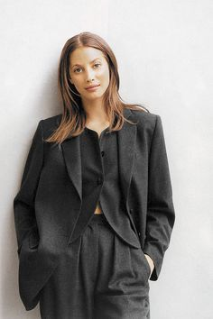 Christy Turlington in Armani's signature suiting. - HarpersBAZAAR.com