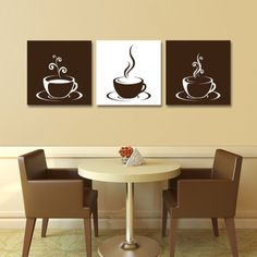 Set of 3 Coffee Cup Canvas Wraps - Espresso Art - Kitchen Art - Wall Art on Etsy Coffee Theme Kitchen, Cafe Themed Kitchen, Coffee Wall Art, Kitchen Decor Themes, Home Decor, Kitchen Ideas, Diy Kitchen, Kitchen Design, Coffee Painting