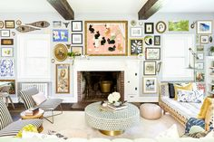 Tour interior designer Michelle Gage's historic Philly home, now filled with small treasures, bold wallpaper, and tons of art. My Living Room, Interior Design Living Room, Living Room Decor, Bold Wallpaper, Eclectic Wallpaper, Up House, Traditional House, Traditional Artwork, Cool Furniture