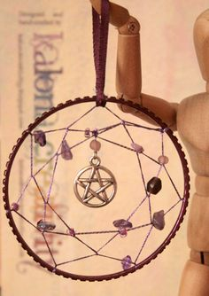 Matching Pair of Dreamcatchers with Gemstones and Charms, Handmade Wicca Pagan, Elemental, Pentacle, amethyst, hemetite. £12.00, via Etsy.