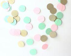 Mint, Blush Pink & Gold Wedding Garland, Bridal Shower, Baby Shower, Photo Prop, Nursery Decor, Gold Garland, Blush Pink Wedding, Mint Decor by MailboxHappiness on Etsy https://www.etsy.com/listing/198396894/mint-blush-pink-gold-wedding-garland