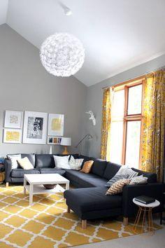 gray yellow living room