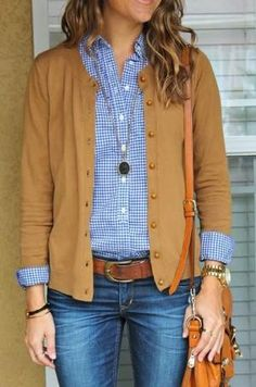 Stylish Cardigan With Check Shirt And Jeans by LiveLoveLaughMyLife