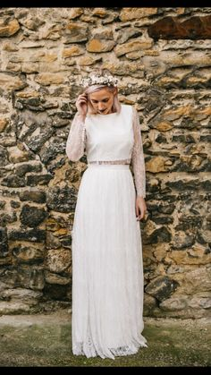 Rita top & Florrie skirt from our new collection. Designed and handmade in Kent. #bridalseparates #weddingdress #laceweddingdress #uniqueweddingdress #vintageweddingdress