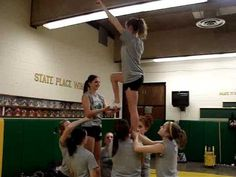 Varsity practicing a NEW stunt we tried out, the Leg Lift Twist on January Easy Cheer Stunts, Cheer Tryouts, Cheer Coaches, Cheer Mom, Cheer Athletics, Cheer Gifts, Cheer Stuff, Gymnastics Stunts, Cheerleading Workouts