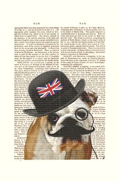British Bulldog Art Mixed Media Art Giclee Print by FabFunky    ...BTW,Check this out:  http://artcaffeine.imobileappsys.com
