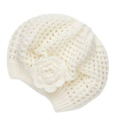 Crochet Blossom Beret ($7.50) ❤ liked on Polyvore