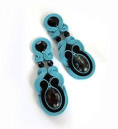Black Turquoise earrings Soutache gift for women by sutaszula
