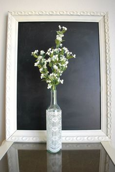 Lace Wrapped Flower Vase. Elegant and unique wedding or home decor.