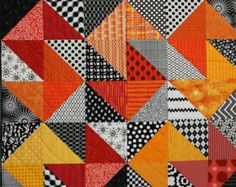 """Modern Baby Quilt """"Declan"""" Contemporary Triangle Pattern in Red, Orange, Gold… Patchwork Quilt, Lap Quilts, Scrappy Quilts, Quilt Blocks, Quilting Tutorials, Quilting Projects, Quilting Designs, Quilt Inspiration, Black And White Quilts"""
