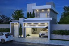 A Startling Fact about Dream House Modern Architecture Ideas Uncovered - homeuntold Mini House Plans, Modern House Plans, Modern House Design, Garage Door Styles, Concrete Houses, Minimal Home, Fancy Houses, House Blueprints, House Elevation