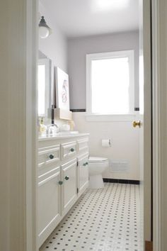 Frost bathroom window to allow light and privacy - new colored knobs add a lot!