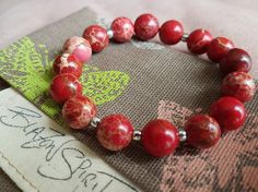 Stacking Bracelet Semi-precious Imperial Jasper 6 by BlazonSpirit Jasper Stone, Red Jasper, Stretch Bracelets, Beaded Bracelets, Classic Looks, Silver Beads, Spirit, Bohemian, Rings