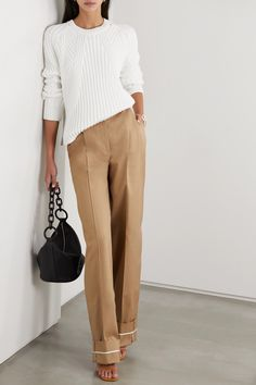 White cotton-blend Slips on cotton, polyamide Hand wash Designer color: Optic White Casual Office Attire, Monica Vinader Bracelet, Brown Pants, Jennifer Fisher, Designs To Draw, Normcore, Menswear, Fashion Outfits, Stylish