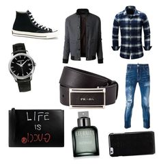 """""""Hadrian"""" by bexie16 ❤ liked on Polyvore featuring LE3NO, Dsquared2, Converse, Patek Philippe, Gucci, Maison Margiela, Prada, Calvin Klein, men's fashion and menswear"""
