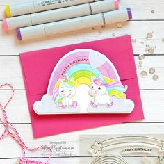 happy birthday 3 - Suzy Plantamura Cloud Stencil, Rainbow Card, Love Stamps, Easy Paintings, Colored Paper, Happy Birthday Cards, My Stamp, Suzy, Have Time