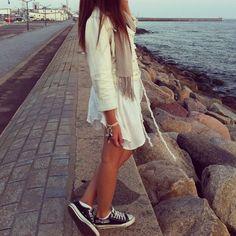 cute summer style | #converse #dress